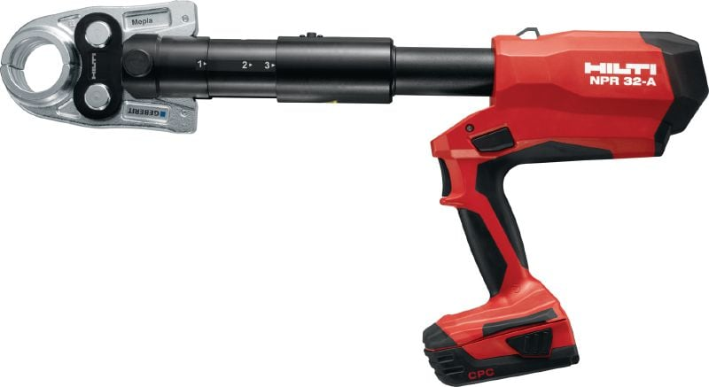 NPR 32-A Pistol-grip pipe press tool Pistol-grip 32 kN cordless pipe press tool with interchangeable press jaws for metal and plastic pipes up to 110 mm
